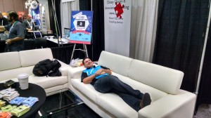 Ben DeBow relaxing in our booth